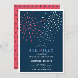 Red, White & Due July 4th Fireworks Baby Shower In Invitation