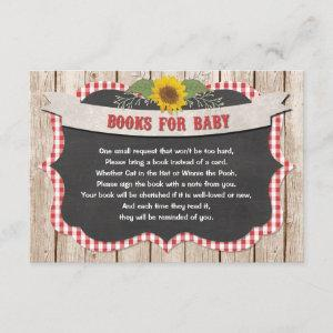 Red white gingham yellow sunflowers books for baby enclosure card