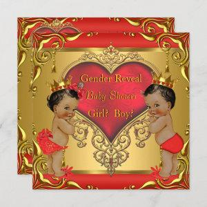 Regal Red Gold Gender Reveal Baby Shower Ethnic Invitation
