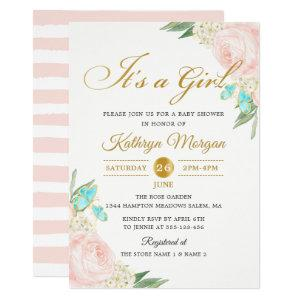 Romantic Blush Peach Rose Garden Baby Shower Invitation