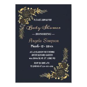 Romantic golden Floral Navy Blue  Baby-shower Invitation