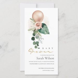 ROSE GOLD BALLOON FLORAL BUNCH BABY SHOWER INVITE
