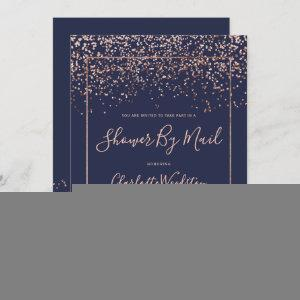 Rose gold confetti navy bridal shower by mail