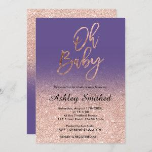 Rose gold faux glitter purple ombre Oh baby shower