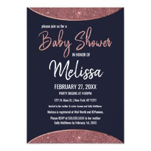 Rose Gold Glitter Navy Blue Circular Baby Shower Invitation