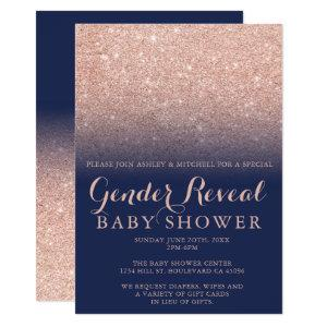Rose gold glitter navy blue gender reveal baby invitation
