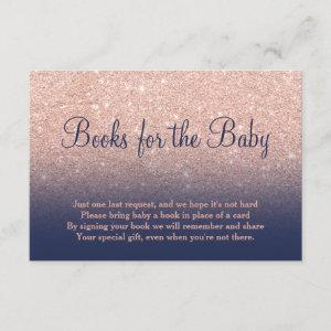 Rose gold glitter navy bring a book baby shower enclosure card