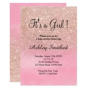 Rose gold glitter pink watercolor girl baby shower invitation
