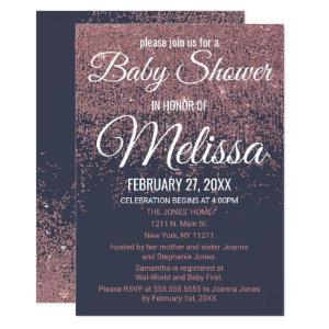 Rose Gold Glitter Sparkles Navy Blue Baby Shower Invitation
