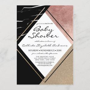 Rose Gold Marble Geometric Triangle Baby Shower