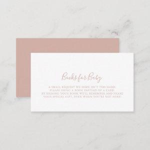 Rose Gold Minimalist Baby Shower Book Request  Enclosure Card