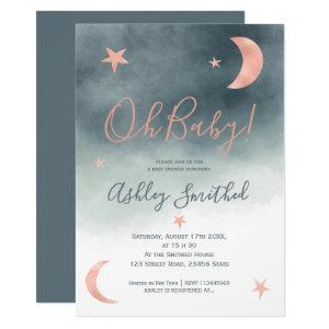 Rose gold moon stars blue watercolor baby shower invitation