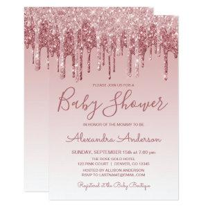 Rose Gold | Pink Sparkle Glitter Baby Shower Invitation