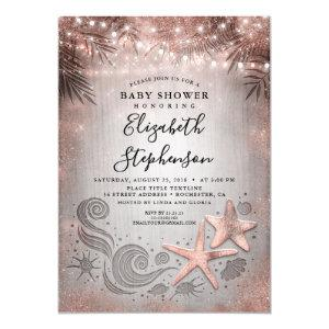 Rose Gold Starfish Beach Lights Baby Shower Invitation