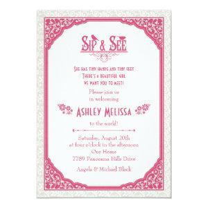 Rose Pink Champagne Lace Sip N See Baby Shower Invitation