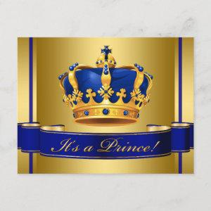Royal Blue and Gold Crown Prince Baby Shower Invitation