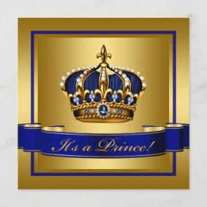 Royal Blue and Gold Crown Prince Baby Shower