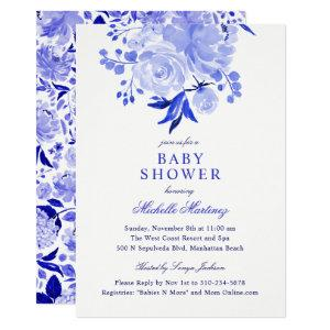 Royal Blue and White Watercolor Floral Baby Shower Invitation