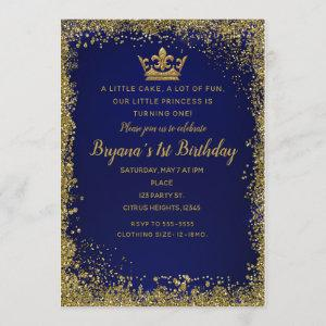 Royal Blue & Gold Glitter Crown 1ST Birthday Party Invitation
