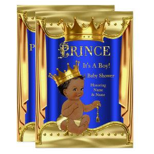 Royal Blue Prince Baby Shower Gold Ethnic Invitation