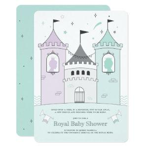 Royal Castle Boy Girl Twins Baby Shower Invitation