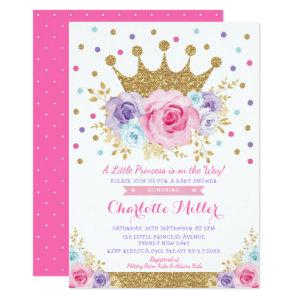Royal Crown Princes Pink Purple Floral Baby Shower Invitation