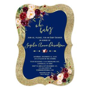 Royal Navy Blue Blush Floral Gold BABY SHOWER Invitation