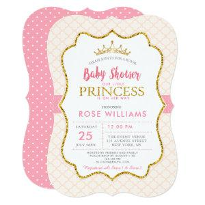 Royal pink little princess baby shower invitation