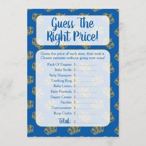 Royal Prince Guess The Price Baby Shower Game Invitation