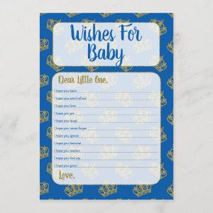 Royal Prince Wishes For Baby Shower Game Blue Invitation