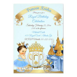 Royal Princess Castle Carriage Blue Gold Girl Invitation