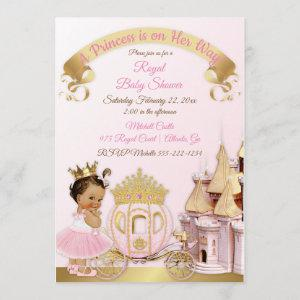 Royal Princess Castle Carriage Pink Gold Girl Invitation