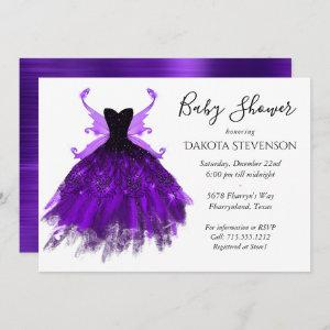 Royal Purple Fairy Wing Ball Gown   Baby Shower Invitation