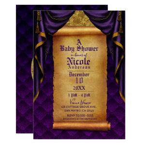 Royal Purple & Gold Drapes Scroll Baby Shower Invitation