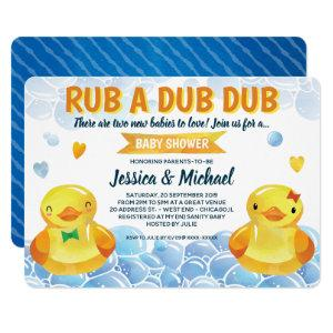 Rubber Duck Boy-Girl Twins  Baby Shower Invitation