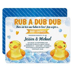 Rubber Duck Girls Twins  Baby Shower Invitation