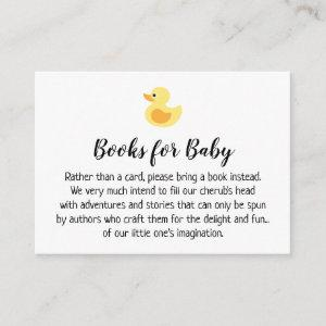 Rubber Duck Simple Book Request Insert Cards