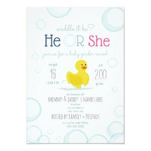 Rubber Duck Waddle It Be Baby Gender Reveal Invitation
