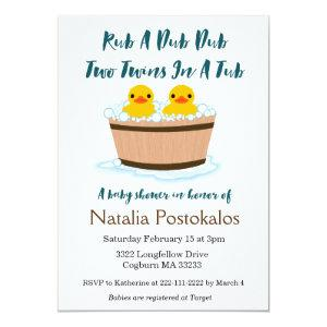 Rubber Ducks Swimming in a Tub Twins Baby Shower Invitation