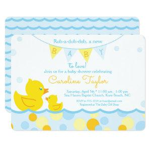 Rubber Ducky Blue & Yellow Baby Shower Invitation
