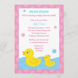 Rubber Ducky Duck Girl Baby Shower Invitations