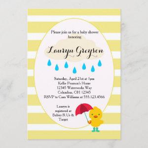 Rubber Ducky Duck Yellow Baby shower Invitation