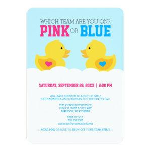 Rubber Ducky Pink or Blue Gender Reveal Party Invitation