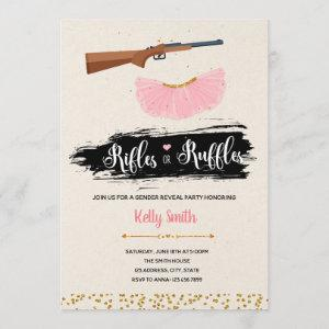 Ruffles or rifles gender reveal party invitation