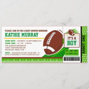 Rugby FootBall Ticket Pass Baby Shower