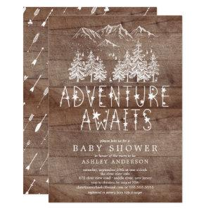 Rustic Adventure Awaits Boy baby Shower Invitation