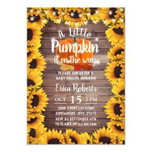 Rustic Autumn Sunflower Little Pumpkin Baby Shower Invitation