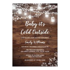 Rustic Baby it's Cold Outside Winter Baby Shower Invitation