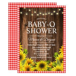 Rustic Baby Q Shower BBQ Sunflower Invitation