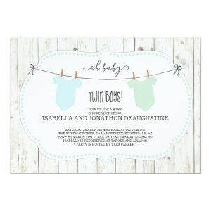 Rustic Baby Shower Invitation for Twin Boys